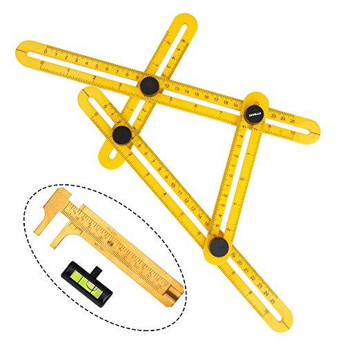 ATPWONZ Vorlage Werkzeug Messgerät Mehrwinkel Lineal Vorlage Maßnahmen alle Winkel und Formen für Heimwerker, Builders, Handwerker Messschieber als Geschenk bekommen