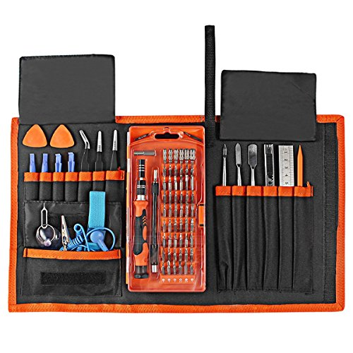 Zacfton 78 in 1 Magnet Präzisions Schraubendreher Set Reparatur Tool Kit für Pad, iPhone, Laptop, PC, Smartphones, Uhren, Brillen und andere Geräte mit Beweglicher Tasche (Orange)