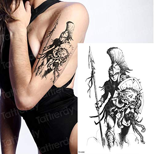 Adesivo tatuaggio temporaneo samurai tattoo decal sketches disegni del tatuaggio nero dio greco mitologia tatoo men boys body