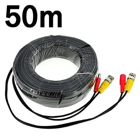 BW® 50M / 164.0 Feet BNC Video Power Cable For CCTV Camera DVR Security System (50M) - Enhanced Array Camera Dedicated: Cable type: 0.75mm² , Cable OD: 4.7mm