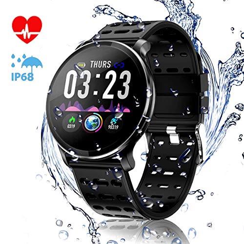 CanMixs CM10 Smart Watch, IP67 Wasserdichte Fitnessuhr Activity Tracker 1,3-Zoll-IPS-Farbbildschirm mit Pulsmesser, Schrittzähler, Schlafmonitor Anrufbenachrichtigung SMS für Android iOS Männer/Frauen