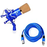 Auna CM001BG Microfono a Condensatore Studio blu/oro