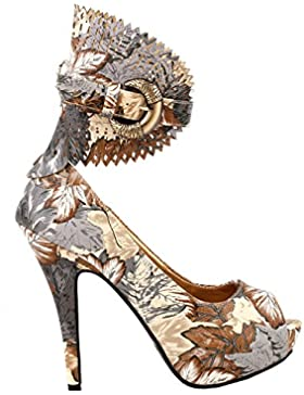 Visualizza Story Multicolore Motivo floreale / Animal Gladiator Platform Pumps, LF30402