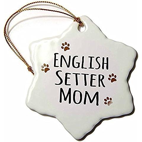 polpdid Setter Inglese Cane razza mamma–Doggie, colore: marrone fango Paw Prints–Doggy Pet Lover proprietario Mama Love–Snowflake Ornament, in porcellana, 3(neve _ 154113_