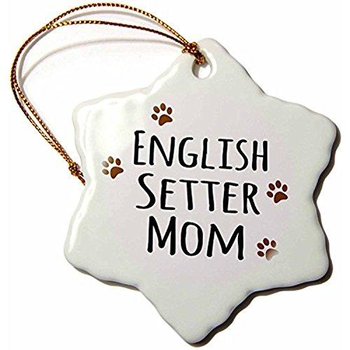 polpdid Setter Inglese Cane razza mamma-Doggie, colore: marrone fango Paw Prints-Doggy Pet Lover proprietario Mama Love-Snowflake Ornament, in porcellana, 3(neve _ 154113_