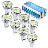 8 Stück GU10 6W 48 SMD 2835 LED Spot Strahler Energiesparlampe Birne Leuchte Leuchtmittel Kaltweiß 6500K (ersetzt 60W Halogenlampen, 120° Abstrahwinkel, LED Birnen, LED Leuchtmittel)