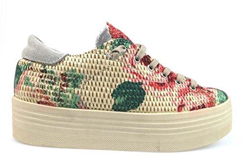 scarpe donna 2 STAR sneakers beige / multicolor tessuto AP695 (41 EU)