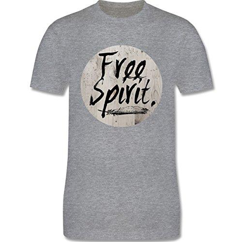 Statement Shirts - Free Spirit - Herren Premium T-Shirt Grau Meliert