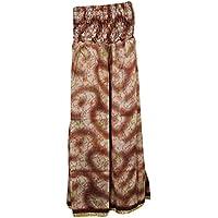 Mogul Interior Vintage Skirts Silk Smocked Waist Brown Gypsy Chic