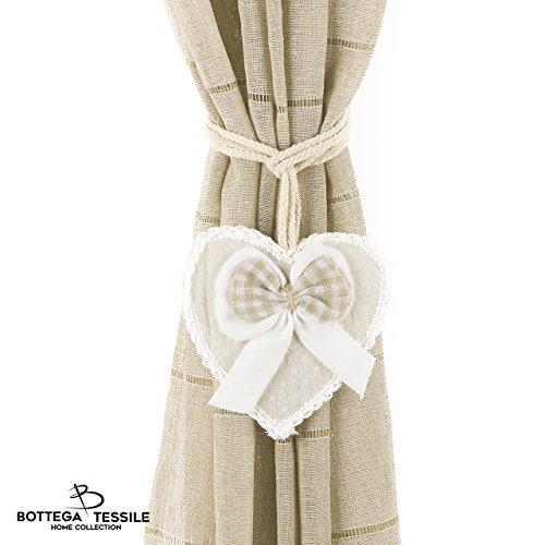 Fermatende libby con decorazione in stoffa a forma di cuore in stile country chic. fantasia pois , colore grigio/beige