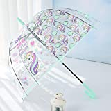 #9: My Party Suppliers Unicorn Umbrella for Children / Latest Unicorn Umbrella for Girls /Long Handle Transparent Umbrella ( Random Prints 1pcs)
