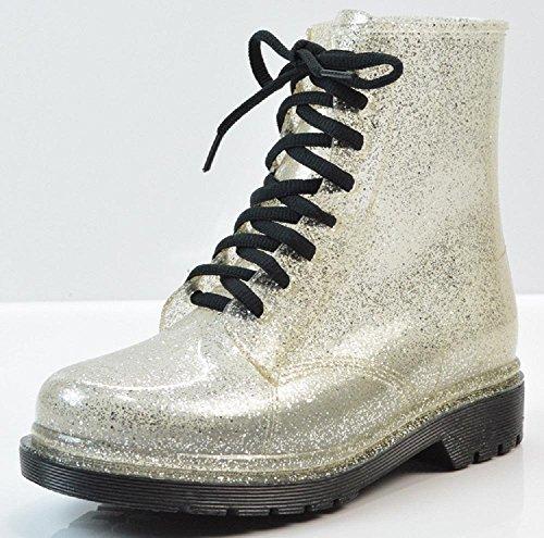 Mme glitter transparent bottes de pluie Martin bottes Silver
