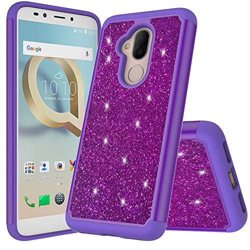 Alle Metro Pcs Handys (Kompatibel mit Alcatel 7 / Revvl 2 Plus / ACTL6062 [2018 Metro PCs usw.] Niedlicher Glitzer, zweilagige Hybrid-Schutzhülle mit HD-Displayschutzfolie und Emoji!, violett)
