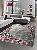 Carpetia Designer Teppich Wohnzimmerteppich Ornamente Glitzer Grau Schwarz Rot Größe 120x160 cm