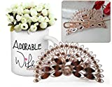 #6: Valentine Gifts for Wife, Valentine's day gifts, Best gift for Valentine for Her Peacock Shaped Hair Clip and Valentine's Special Coffee Mug with Bunches of Peonies
