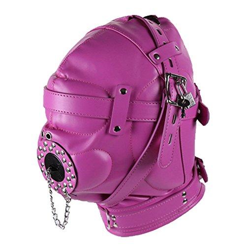 Ohmais Sex Toys OP-Mundschutz Sexy-Bondage Knebel SM Mask Brille abnehmbare Kappen PU-Leder-Slave-Port Ball Maske spielen für Erwachsene