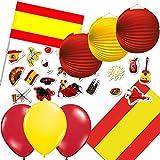 77-teiliges Dekoset * Spanien * für eine Länder-Party // mit Tischdecke + Fahnen + Lampions + Luftballons + Konfetti // Deko Dekoration Set Mottoparty