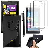 ebestStar - Cover Compatibile con Nokia Lumia 1020 Custodia Protezione S-Line Design Silicone Gel TPU Morbida e Sottile + Penna +3 Pellicole plastica, Nero [Apparecchio: 130.4 x 71.4 x 10.4mm, 4.5'']