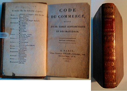 CODE DU COMMERCE 1807 EO RELIE Plein CUIR d epoque