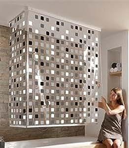 eck duschrollo mosaik grau incl gratis nackenkissen weiss. Black Bedroom Furniture Sets. Home Design Ideas