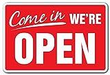 Zitat Aluminium Come in We 're Open Business Schild Store Stunden Ja Wir Sind Offen Geschlossen Schild Metall Geschenk Schild, Dekoration