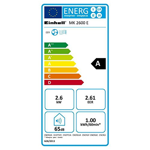 Einhell Lokales Klimagerät MK 2600 E (2600 W Kühlleistung, 375 m³/h Luftumwälzung, Temperatureinstellung, Energieklasse A) - 2