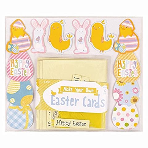 Make Your Own Happy Easter Card Kit Kids Children Fun Arts Craft Egg Bunny Chick.