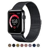 Surwin Apple Watch Armband 42 mm aus Milanese Uhrenarmband mit Magnet-Verschluss schwarz