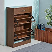 HOMEBOX Novi 12-Pair Shoe Cabinet, Light Walnut - 60L cm