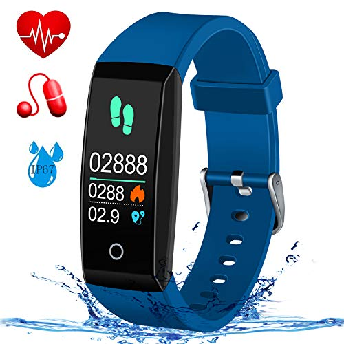 MSDJK Fitness Armband mit Pulsmesser Blutdruckmessgerät,Farbdisplay Smart Activity Tracker ,Wasserdicht IP67 Fitness Tracker Schrittzähler Uhr Vibrationsalarm Anruf SMS mit iOS&Android Handy