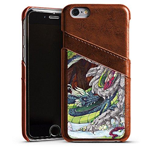 Apple iPhone 6 Housse Étui Silicone Coque Protection Dragons Imagination Arbres Étui en cuir marron