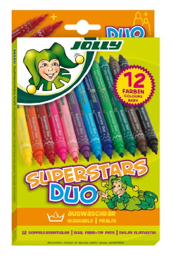 Jolly Superstar Duo sort., 12er-Kartonetui, Fasermaler, Filzstifte