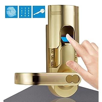 Assa Abloy Digi Electronic Biometric Fingerprint + Keypad Password Door Lock Set 6600-86 Intersected Gold (Left Hand Door)