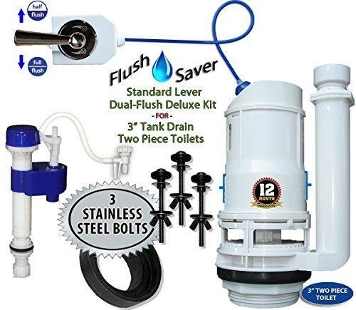 flushsaver 7,6cm Ablauf Standard Hebel Griff 2Deluxe DIY Conversion Kit-passend für Standard 7,6cm Ablauf Zwei Stück WC. Standard Toiletten in Effiziente-Systemen. -