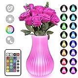 Swonuk Veilleuse LED 16 Couleurs, Vase Led Lampe Créatif Insert True Flower USB...