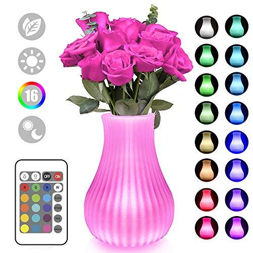 Swonuk Veilleuse LED 16 Couleurs, Vase Led Lampe Créatif Insert True Flower USB rechargeable lampe à économie d'énergie avec télécommande pour café bar restaurant table décoration