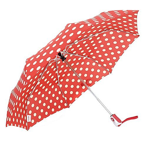 0940df96f3bf ZKDT Cute Polka Dots Tri-fold Travel Umbrella Light Weight Portable  Umbrellas for Women (Red)
