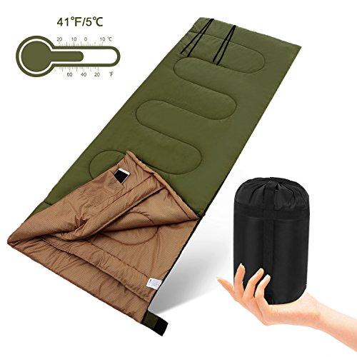 YUEBO Schlafsack---leichte, Portable, wasserdicht, Umschlag Schlafsack w / Kompression Sack, super für Camping, Wandern, Reisen, Wandern, Bergsteigen, 40℉/5℃ (5408_G_1)