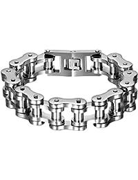 Oidea pulsera para hombre, pulsera cadena de acero inoxidable grande, ancha y pesada, color a elección