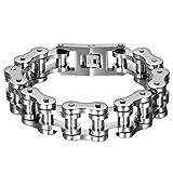 Oidea Herren Edelstahl 18mm Gothic Breit Schweres Fahrrad Kette Armband für Biker, 22,9cm, Silber
