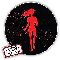 Yes You Can Running Woman Sport Label Kunst Dekor Aufkleber 12 x 12 cm