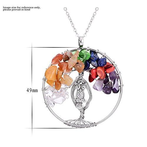 Broncos (TM) Rainbow 7Chakra Naturstein Eule Charm Anhänger Halskette Frauen Colorful Reiki Healing Kristall Baum des Lebens Halskette