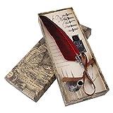 Penna Piuma, Penna d'Oca da Scrittura Piuma Antico Penna Set Quill Penna con 5 Pezzi Pennini, Rosso Metallo Penna Calligrafica Piuma