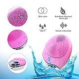 Limpiador Facial Electrico Silicona, Colourstone 3 en 1 Resistente al Agua Eléctrica Masajeador Facial Exfoliante de Silicona para Limpieza Profunda de la Piel (Carga inalámbrica)