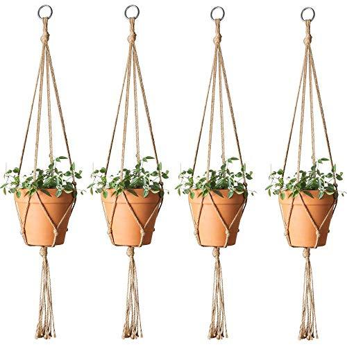 ZYZ 8 Stück Pflanze Kleiderbügel, Indoor Outdoor handgefertigte Jute-Seil zum Aufhängen Blumentopf Pflanzenkorb Halter, Home Patio Garden Decor (48 Zoll-wand-kleiderbügel)