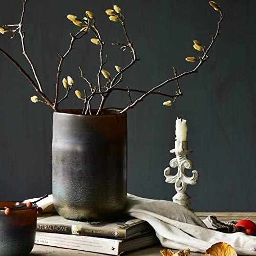 Cyl Home Vasen im Used-Look, braunes Glas, Blumenarrangement, Vase Zylinder Hurricane, Kerzenhalter, rustikaler Tischaufsatz für Esszimmer, Wohnzimmer, Hochzeitsgeschenk Rustikal 9.1'' H x 6.5'' D