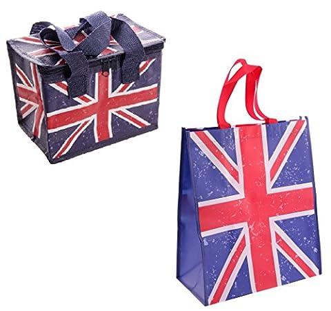 Gossip Girl - Lovely Foil Insulated Lunch Bag - Retro Mrs Smith / Boat / Pink Pug / Caravan / Union Jack + Reusable Shopper (Union