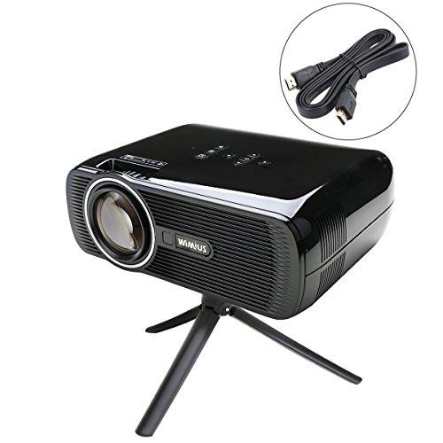 WiMiUS T2 HD Beamer LED Projektor USB Mini Tragbarer Beamer Heimkino Videoprojektor mit HDMI Kabel Schwarz