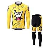 Thriller Rider Sports Herren Aloha Yellow Sport & Freizeit MTB Fahrradbekleidung Radtrikot Langarm und Radhose Lang Anzug Large
