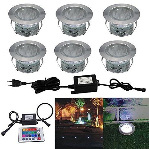 Lot de 6 Spots LED Éclairage extérieur Encastrable, IP67 DC 12V RGB/RVB Acier inoxydable- Décor pour Terrasse Jardin Cour Allée Couloir Lampe de Sécurité